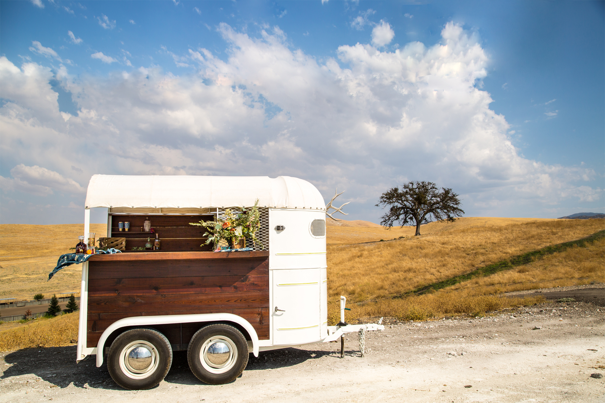 Vintage horse trailer bar trailer rental for production and event purposes
