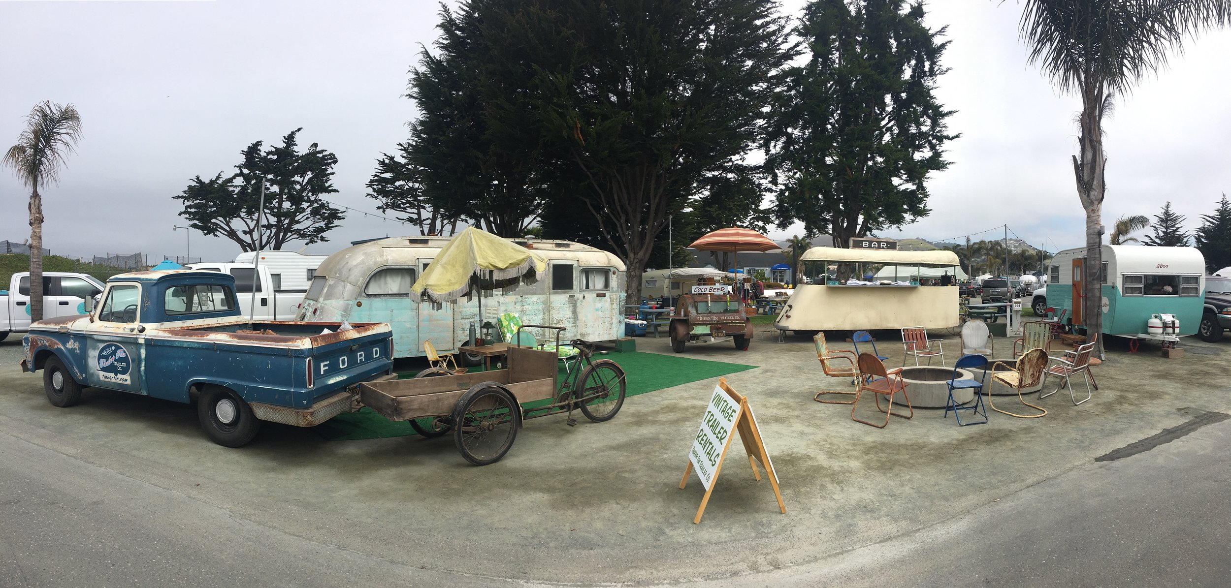 A shot of our entire 2018 Pismo Vintage Trailer Rally setup! Our vintage trailer lineup this year (in order) included our 1964 Ford truck, 1940's Balkfiet, 1948 Westcraft trailer, 1948 Barrel trailer, 1937 Masonite pop-up trailer and our 1954 Aljoa trailer.