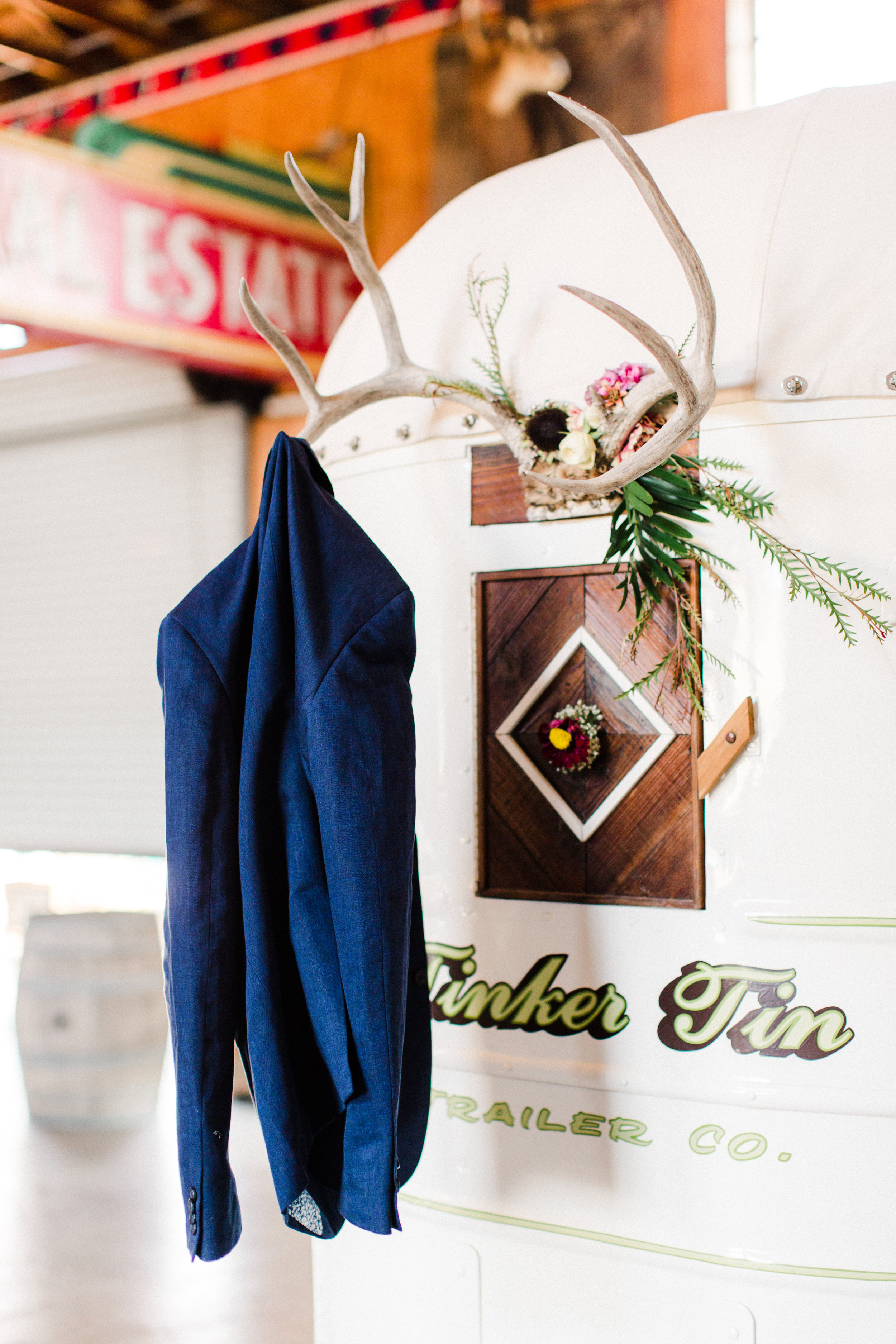 A fun detail shot of Tinker Tin Trailer Co.'s horse trailer vending bar.