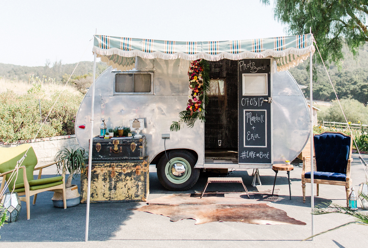Our 1953 Crown Vintage Photobooth Trailer, featured with a fun boho, midcentury modern lounge + floral decor. This anthropology inspired wedding was recently featured on Green Wedding Shoes.