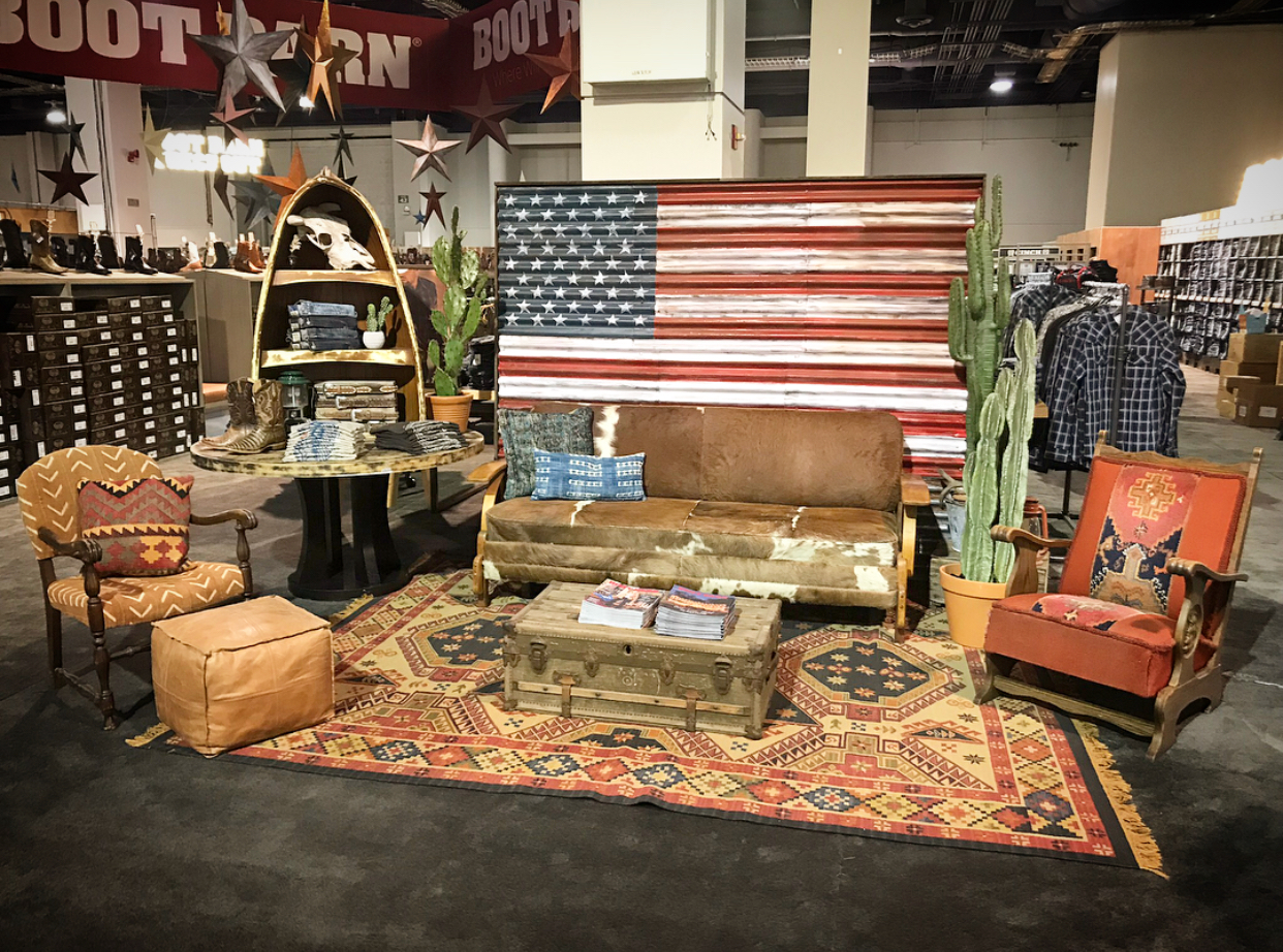 Southwestern Ralph Lauren inspired custom lounge styled by Tinker Tin Trailer Co. for NFR expo buildout at the Las Vegas Convention Center