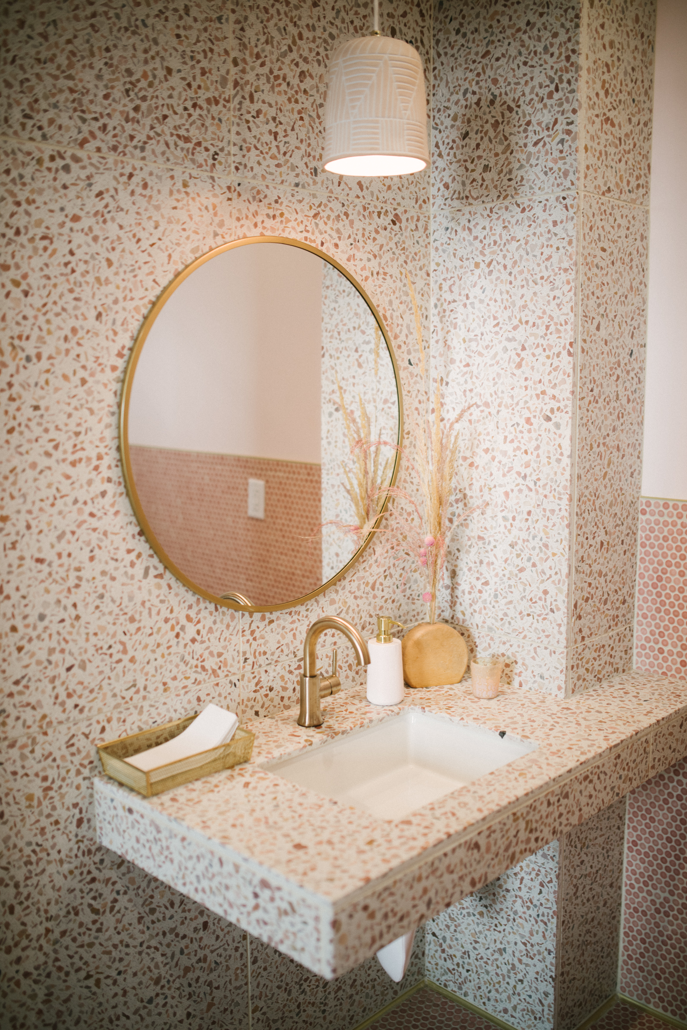 Ladies bathroom with Terrazo Tiles at The Penny SLO