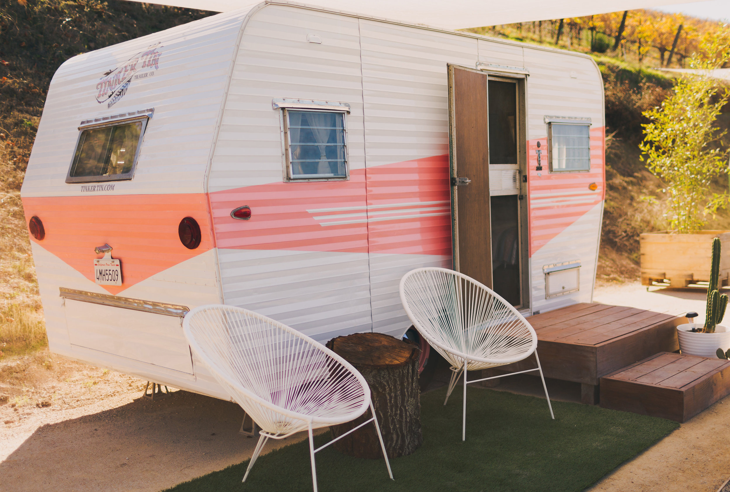 1950s VINTAGE pink camper TRAILER, canned ham, AVAILABLE FOR MOVIE AND PRODUCTION RENTALS, FOR BACKSTAGE LOUNGES, FILMING, TV & MOVIES, FOR HAIR AND MAKEUP, COMMERCIAL AND CATALOGUE PHOTO SHOOTS & MORE