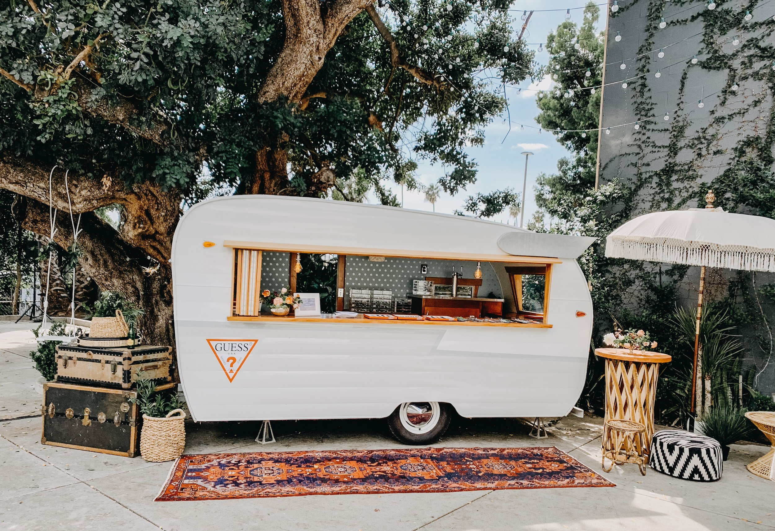 Sidecar Shasta Vintage Bar & Vending Trailer at branded pop-up