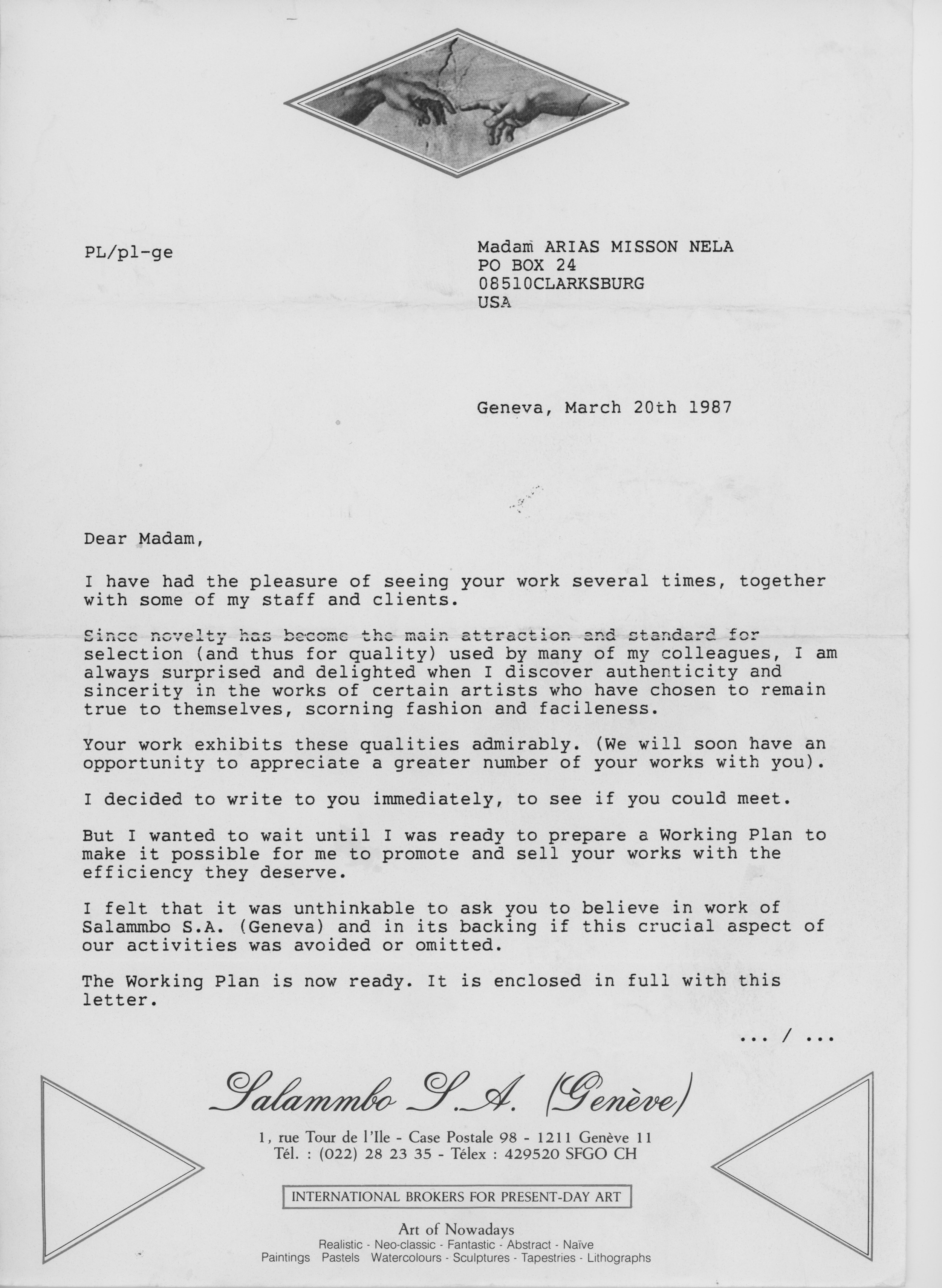 Salammbo Gallery letter to Nela Arias Misson