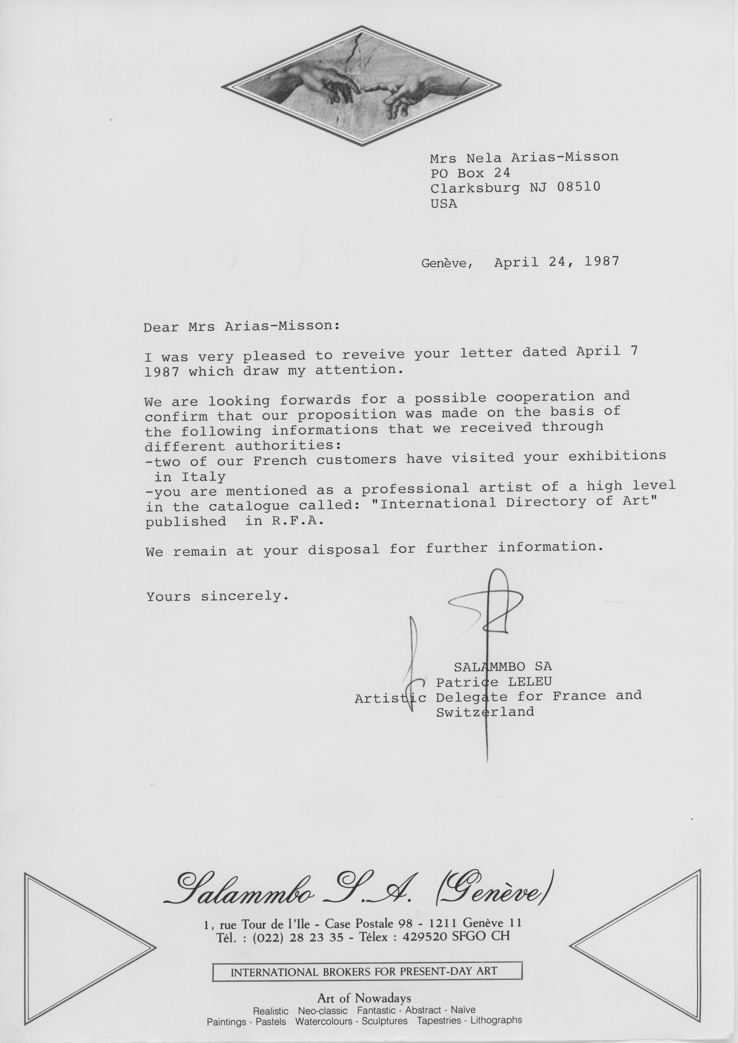 Salammbo Gallery letter April 1987