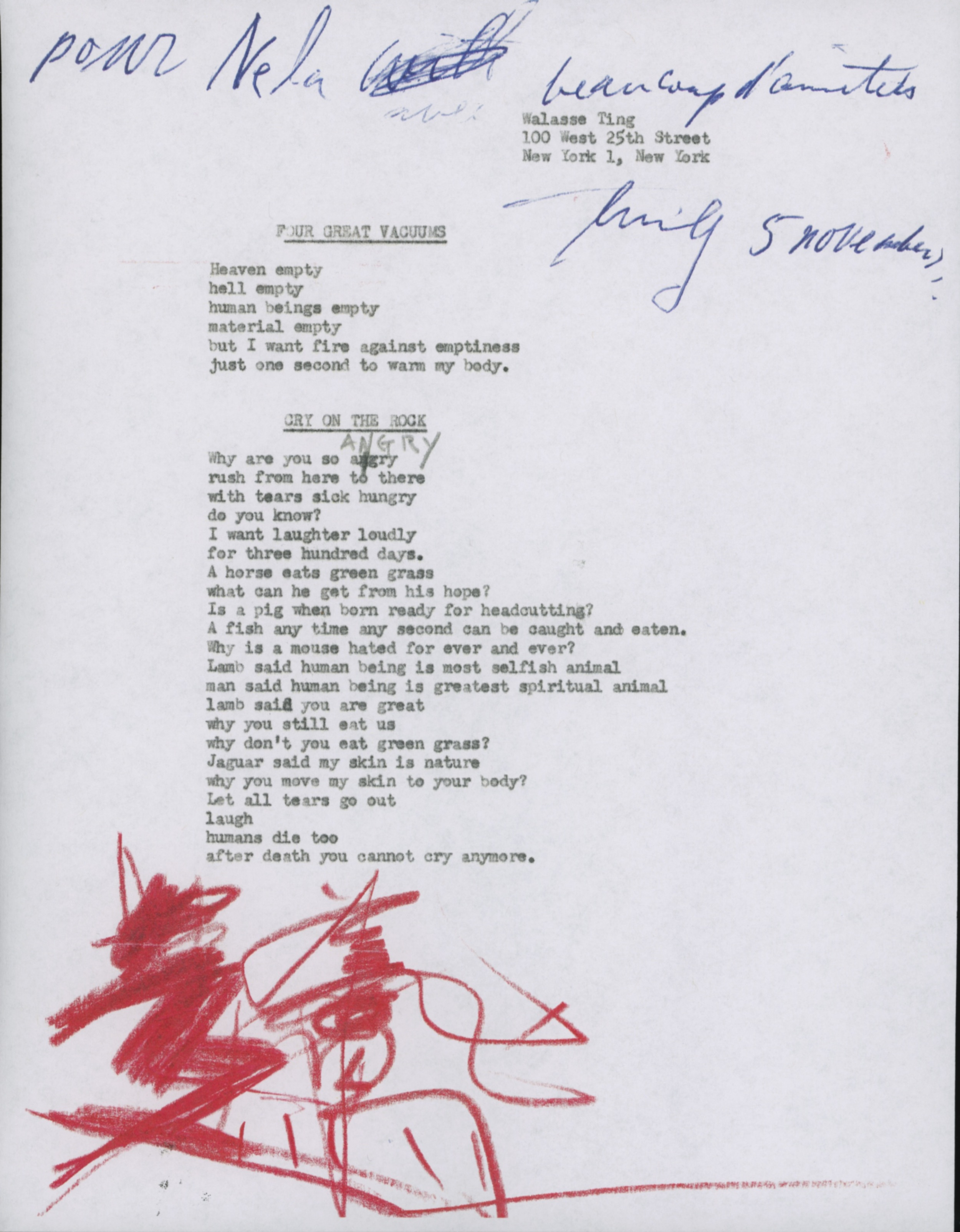 Walasse Ting Poem to Nela Arias