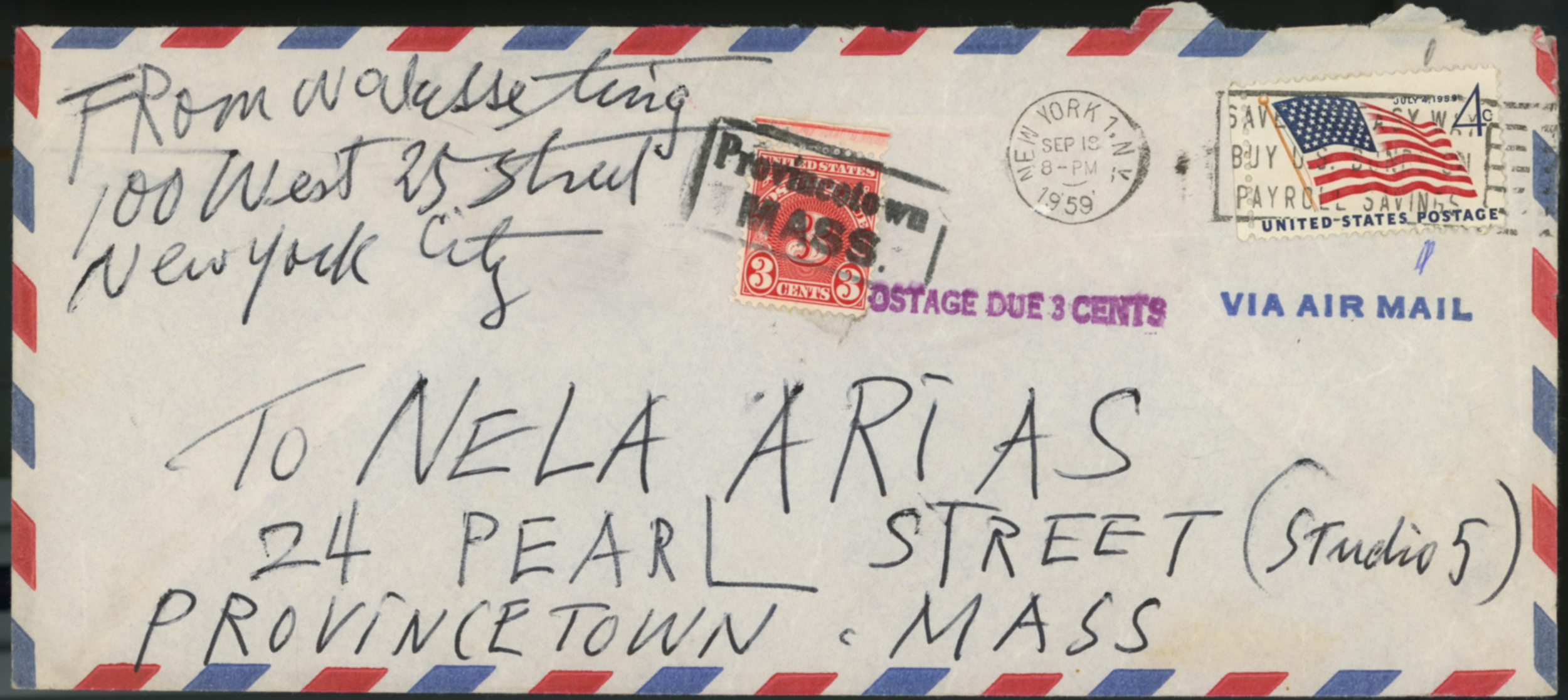Walasse Ting letter to Nela Arias