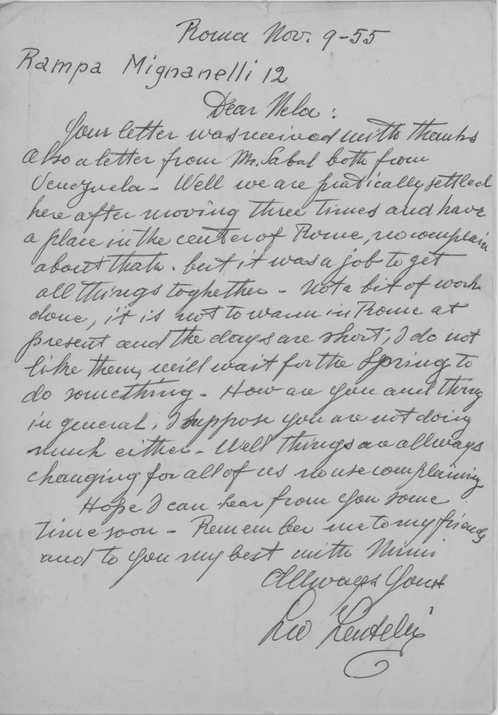 Leo Lentelli letter to Nela Arias Misson