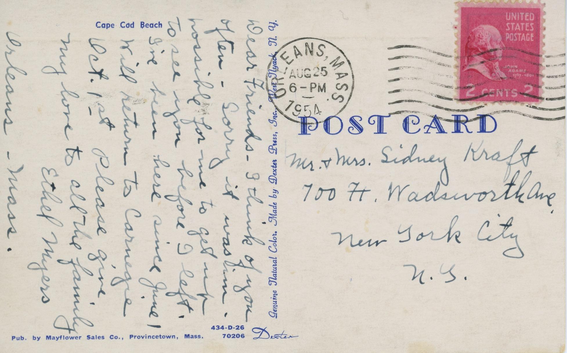 Postcard to Nela Arias (Kraft) from Ethel Myers 1954