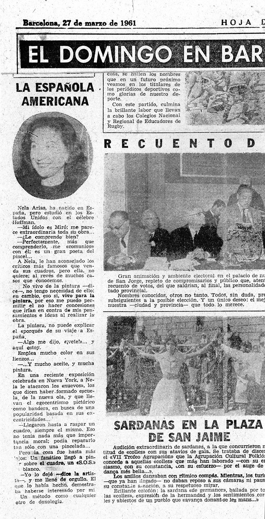 NOT FOR SALE - Nela Arias-Misson  Barcelona interview - Hoja del Lunes - March 27, 1961