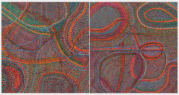 """Uncoil   (diptych) acrylic on panels 14 X 28.25"""" 2013"""