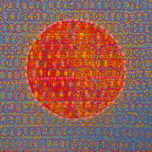 "Sweet Communion    acrylic on panel  12 x 12"" 2008"