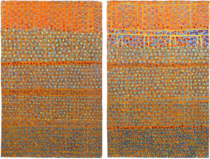 """Two  (diptych)    mixed media on paper 11 x 14.5"""" 2010"""
