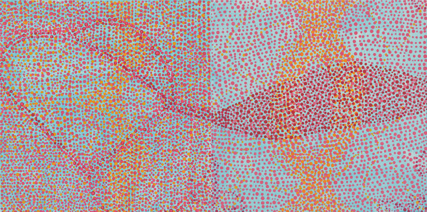 """Poker   (diptych) acrylic on paper 8.5 x 17"""" (paper touching) 2013"""