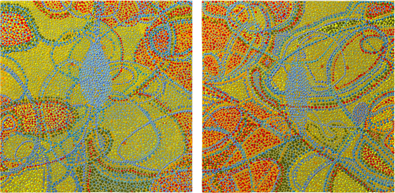 "Blood Lines   (diptych) acrylic on two panels 10 X 20"" 2010"