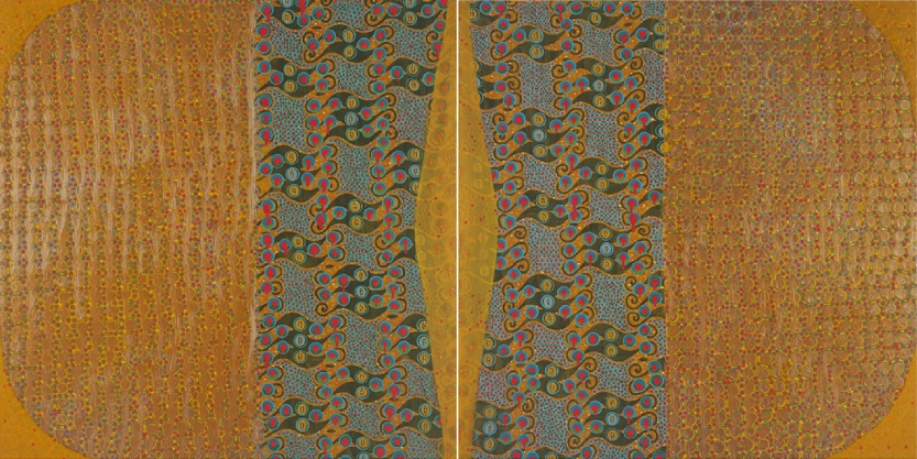 """Currency   (diptych)   mixed media on panels   40 X 80.5""""   2013"""
