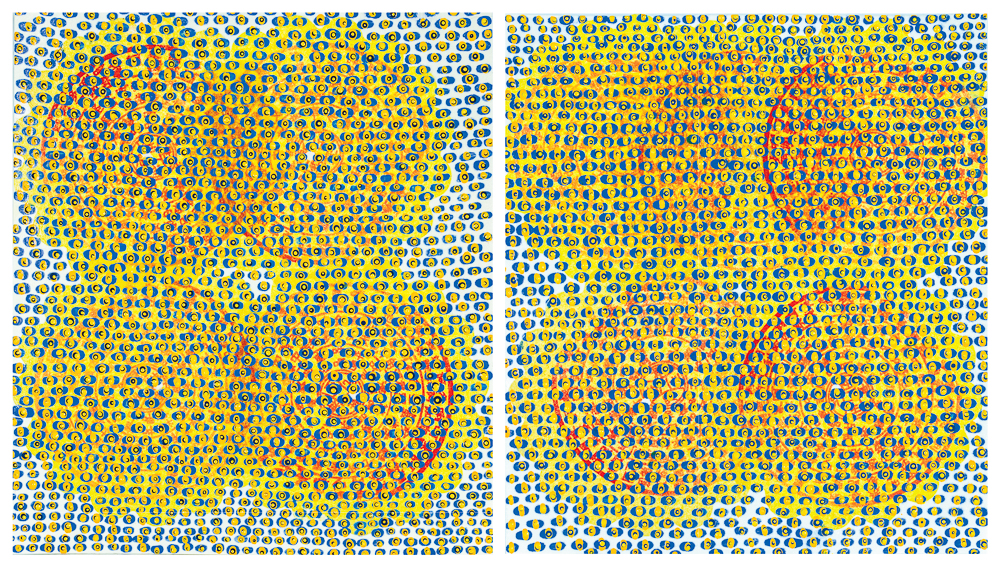 """Trying To Be Together   diptych mixed media on paper 9 x 16.5"""" 2017"""