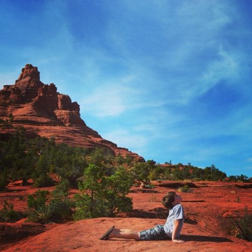 Jack doing yoga at Bell Rock