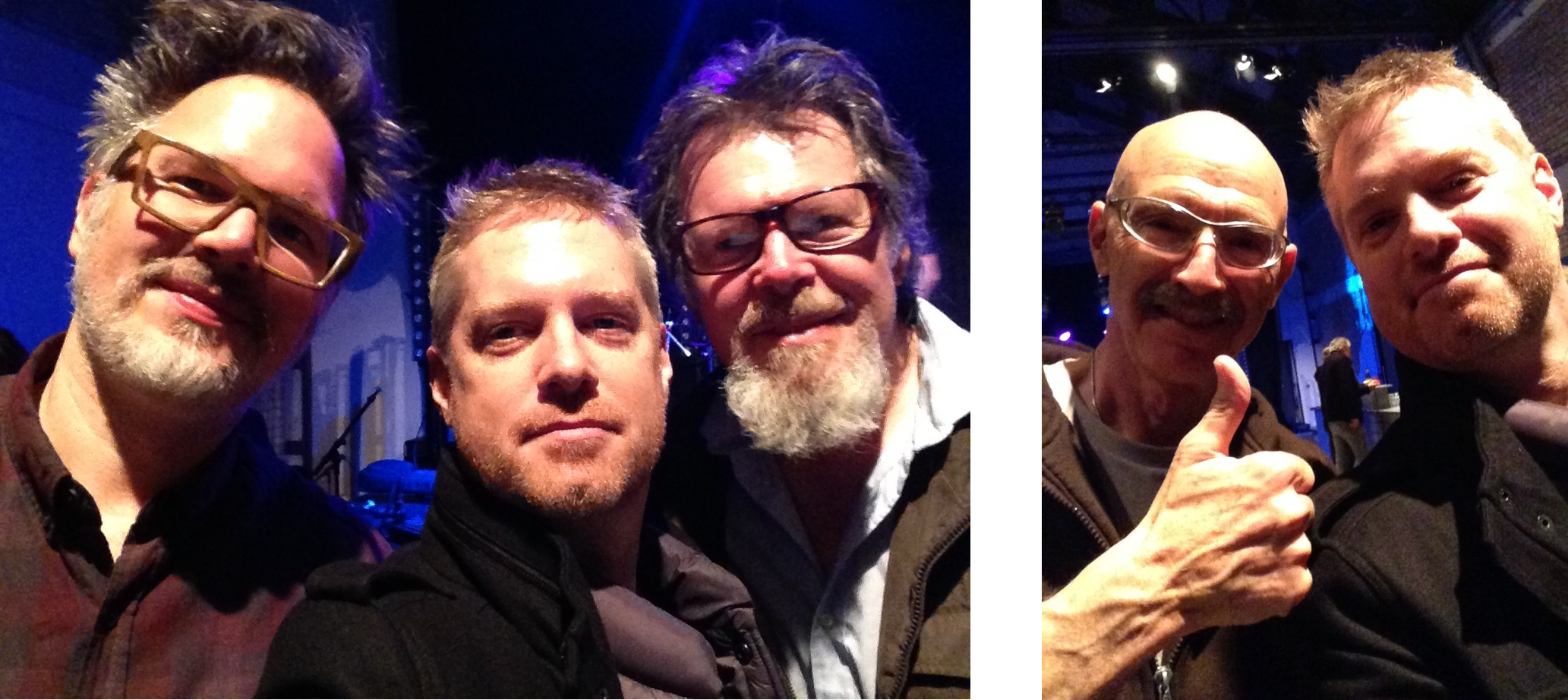 Stick Men!!! - LEFT: Markus Reuter, myself, and Pat Mastelotto. RIGHT: The one and only, my hero, Tony Levin and little old me!
