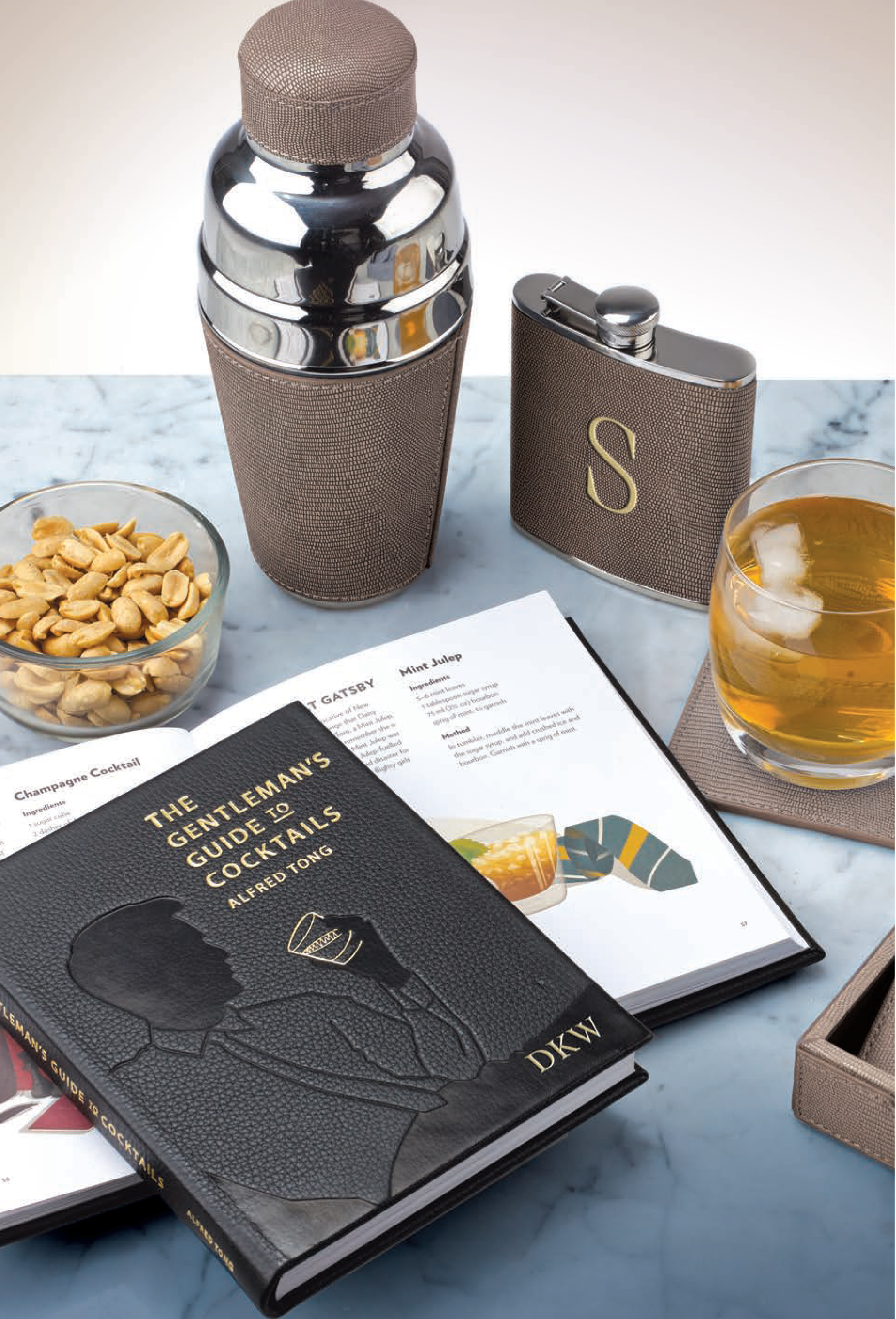 """""""THE GENTLEMAN'S GUIDE TO COCKTAILS,"""" COCKTAIL SHAKER, FLASK & COASTERS."""