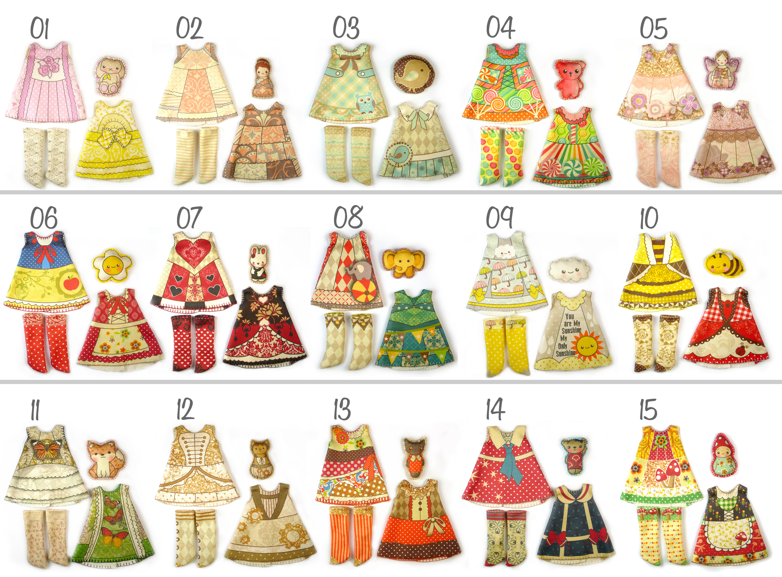 Tiny doll clothing kits available in my  Doll Project  shop.