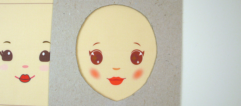 It is easier to see how the features will be placed on my doll's head when I can see through the pattern. I make this stencil then trace along the inside with a fabric marker.