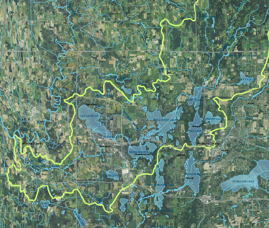 Click image to see a map of the Oconomowoc Watershed's surface water.