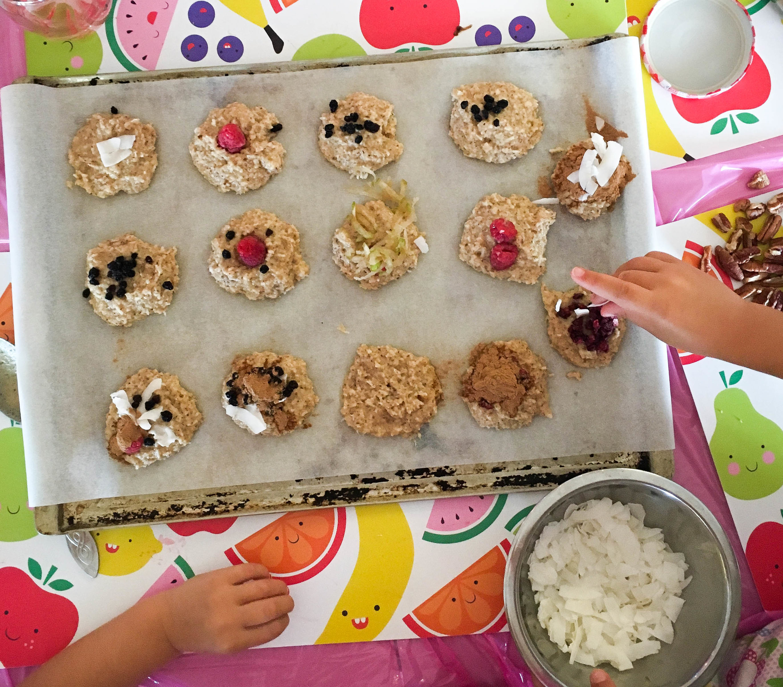 Coconut & almond cookies with DIY toppings.
