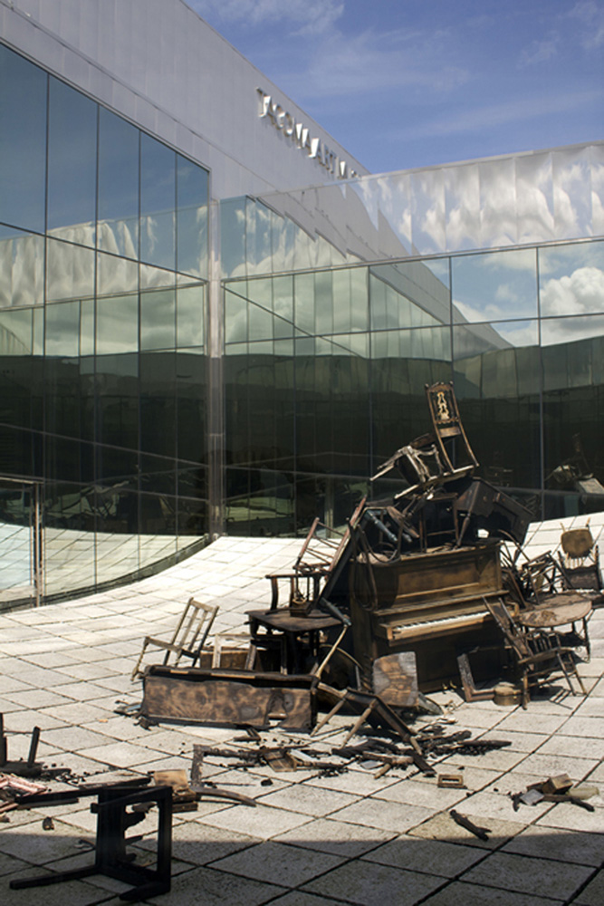 Mourning the Ephemeral   Burned furniture, charcoal, ashes and cast glass  Installation at Tacoma Art Museum  2012