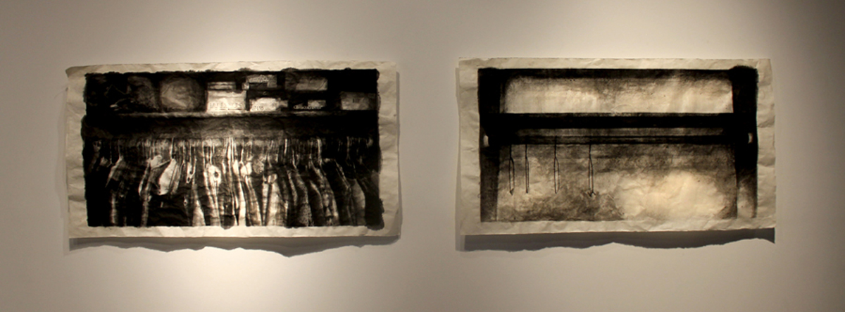A Faint Echo  (diptych)  Serigraphs with india ink and charcoal on mulberry paper  2011
