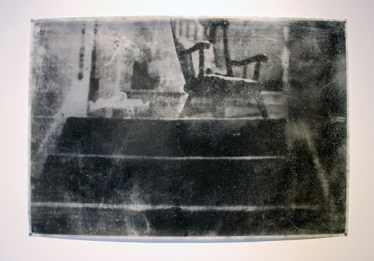 What Remains: Passages   Serigraph with ash and charcoal on mylar  2011