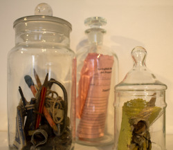 89352 Old Coburg Road  (detail)  Antique jars, collected artifacts from abandoned house  2013