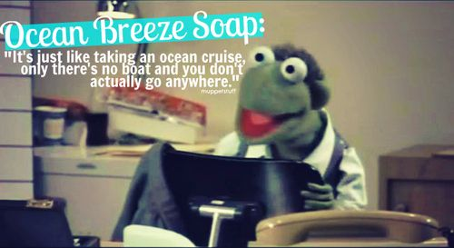 Kermit the Frog: Why don't you try something like: Ocean Breeze Soap will get you clean.    Jill the Frog: You mean just say what the product does?    Gil the Frog: No one's ever tried that before.