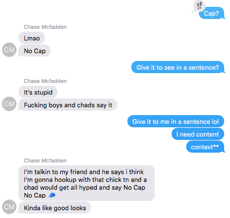 """A real screenshot via Liz Burton from Matte Black. Note: """"Chad"""" is NOT a person. It is another slang term that essentially means, your average frat boy/hipster."""
