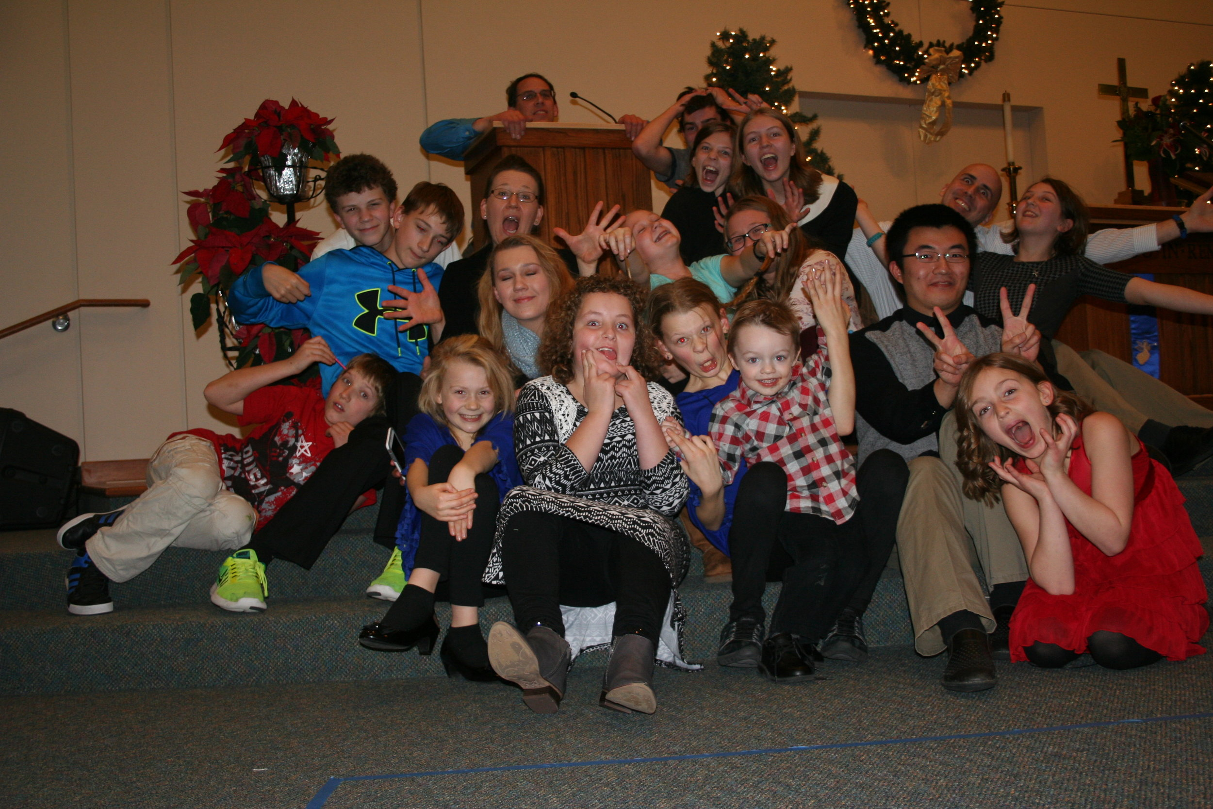 My husband and I with our children and their friends from church, all of whom are near and dear to our hearts.