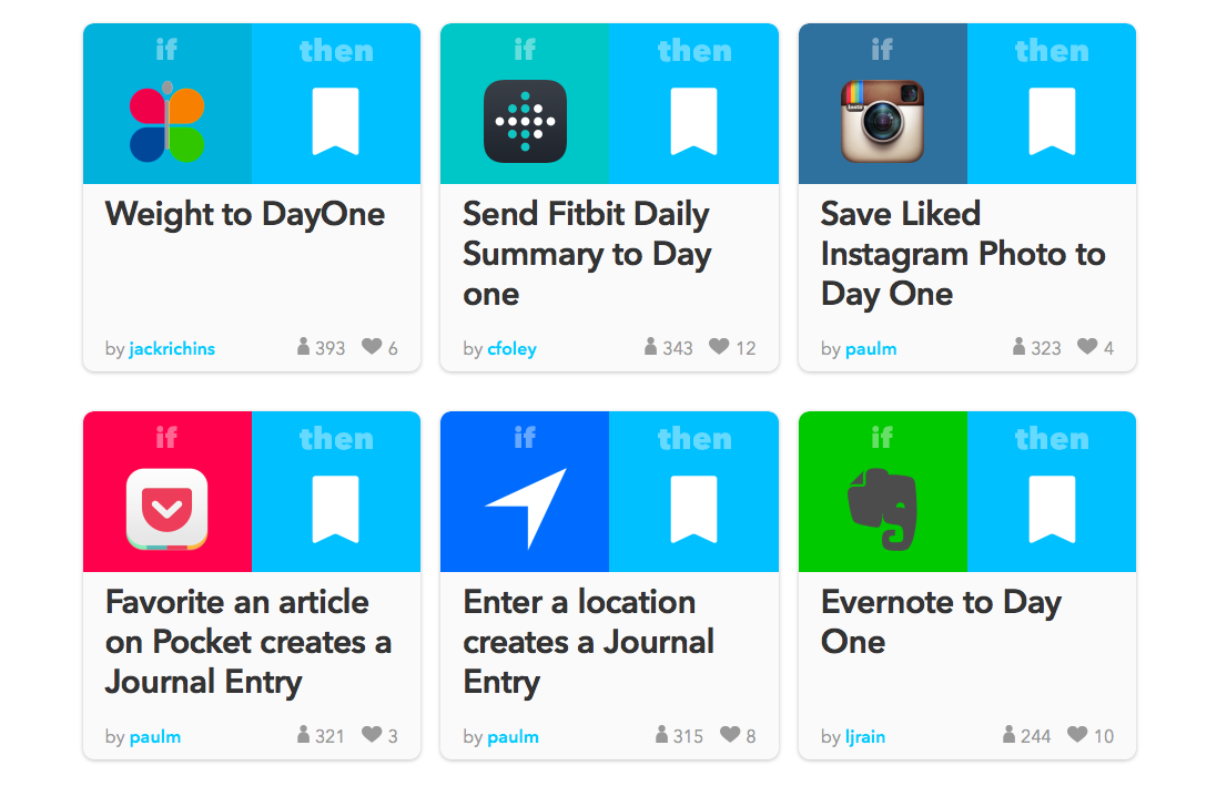 A few IFTTT recipes for Day One.