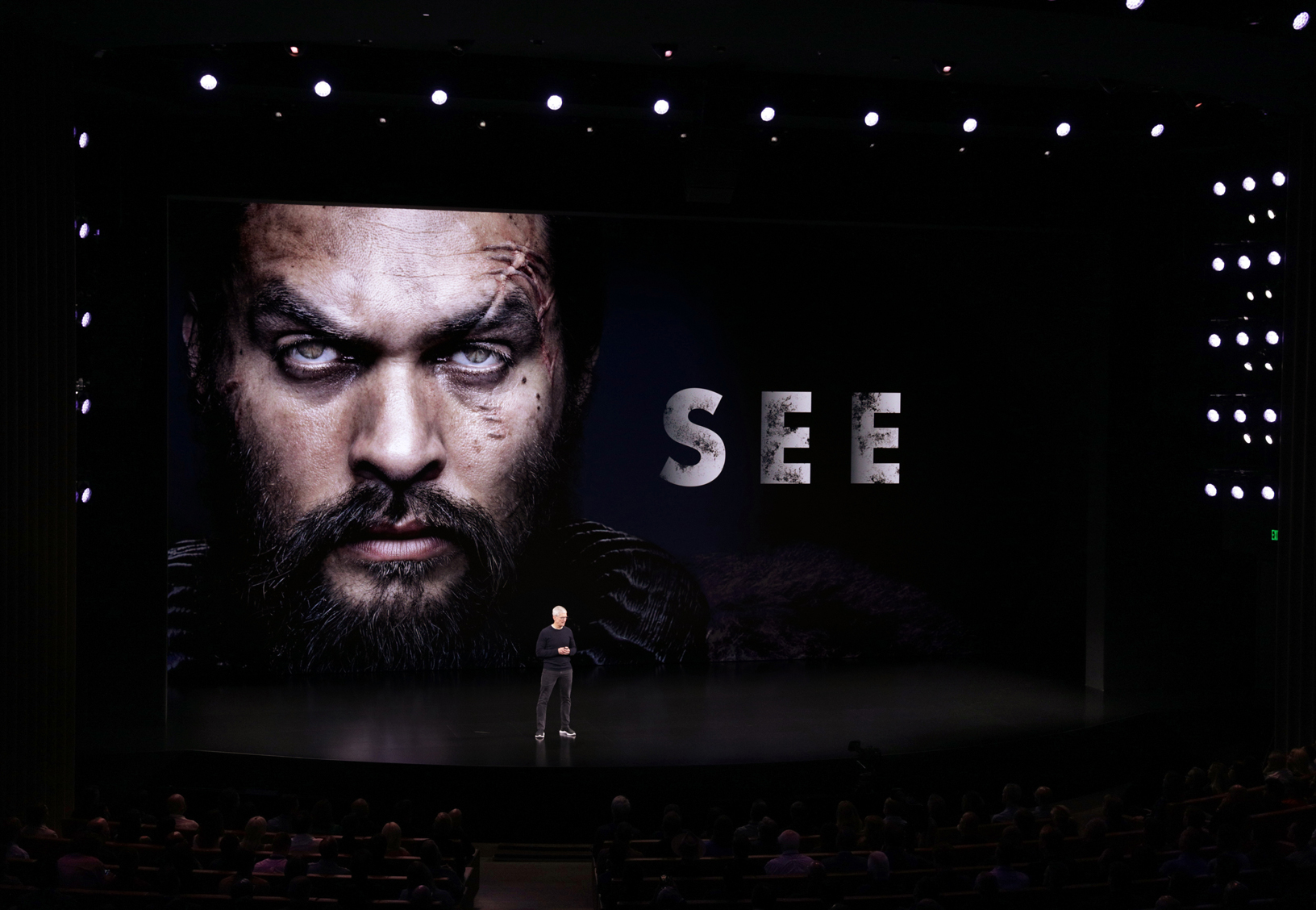 """Tim Cook premieres the trailer for """"See,"""" debuting November 1."""