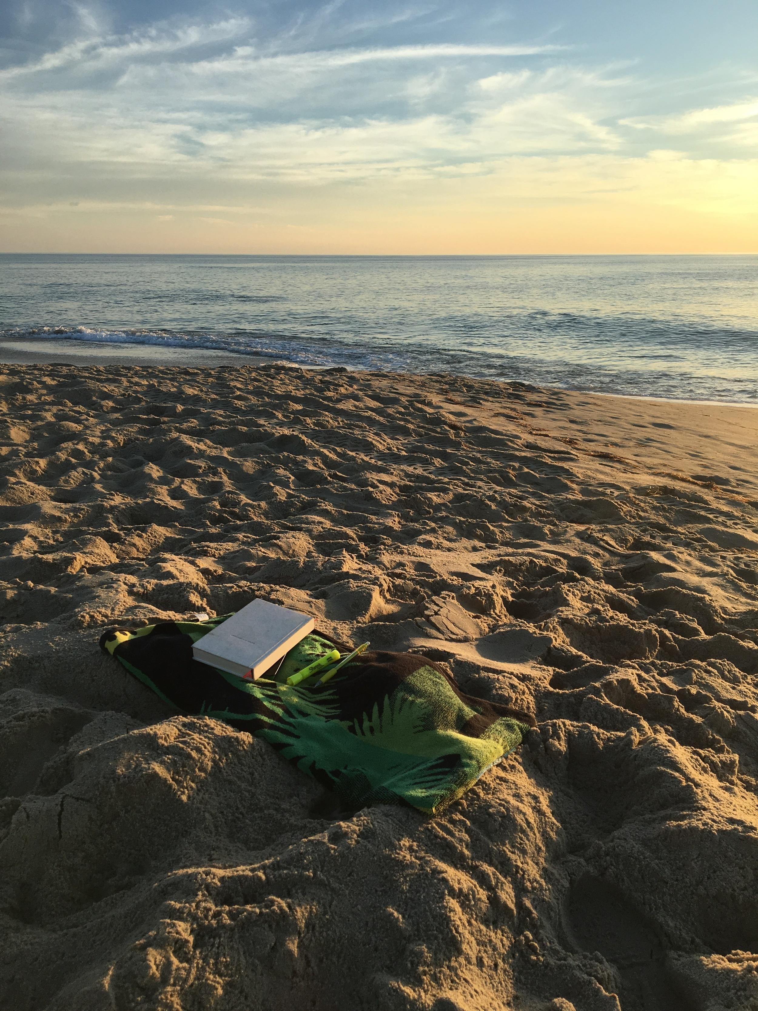 My spirit routine set-up on the beach.