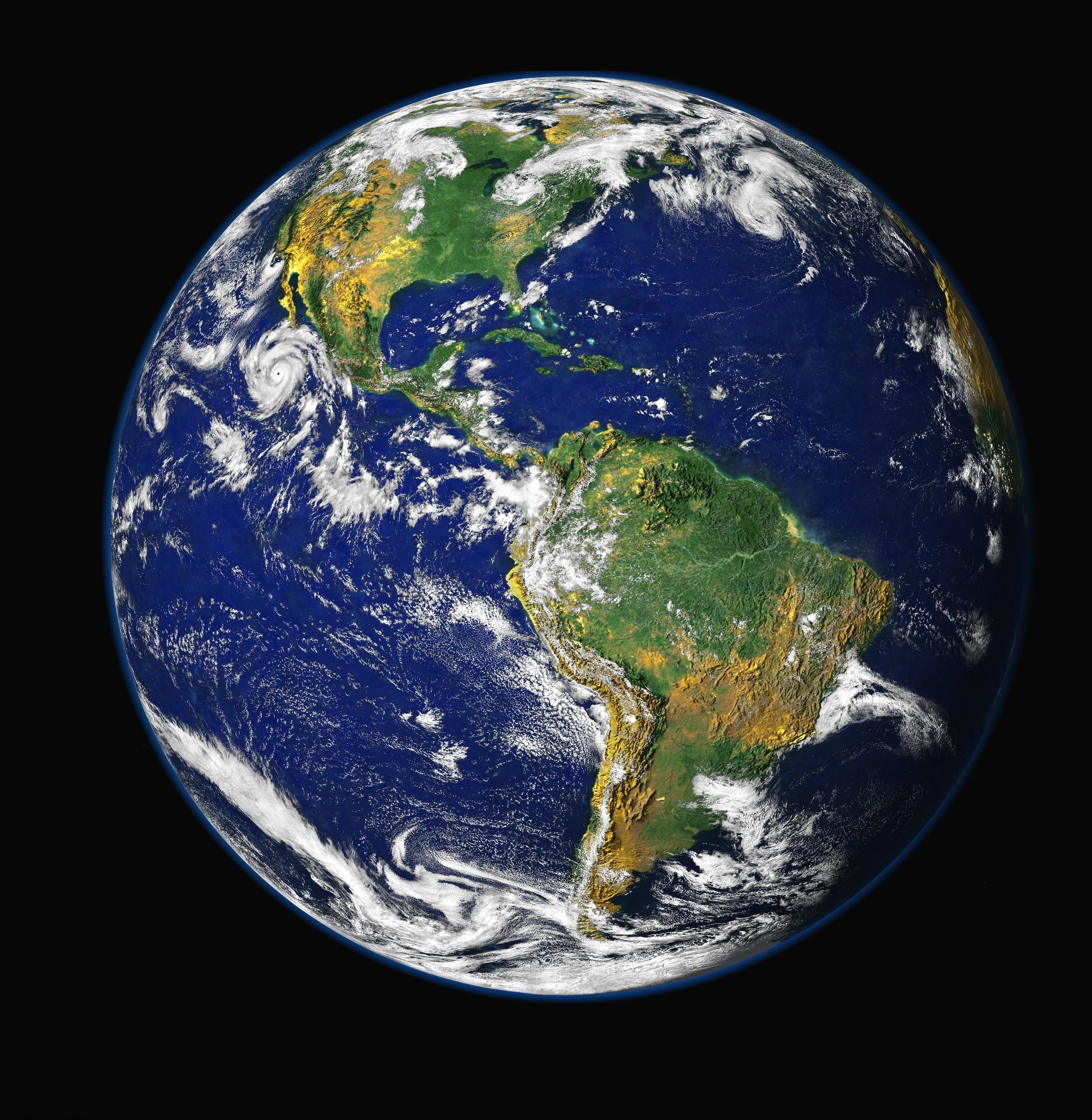 A composite image of Earth; photo by NASA/ GSFC/ NOAA/ USGS, via Wikimedia Commons