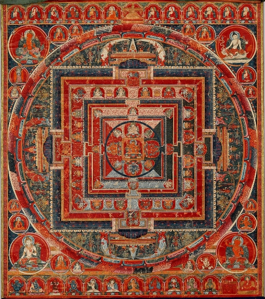 Mandala of the Forms of Manjushri, the Bodhisattva of Transcendent Wisdom, Tibet; 14th century; currently at the Metropolitan Museum of Art, New York, NY.