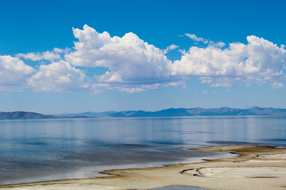 The Great Salt Lake from Antelope Island, Utah, July 2019; photo by Chad Woodward.