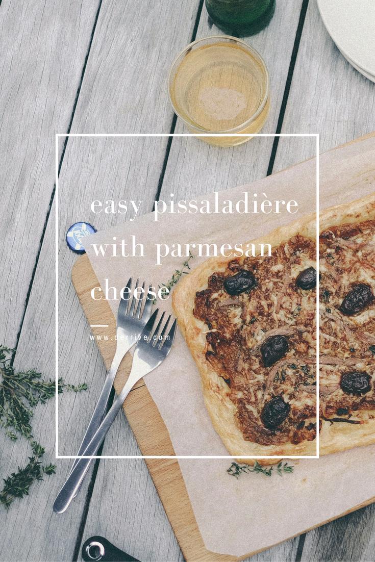 dérrive recipe -  easy pissaladière with parmesan cheese