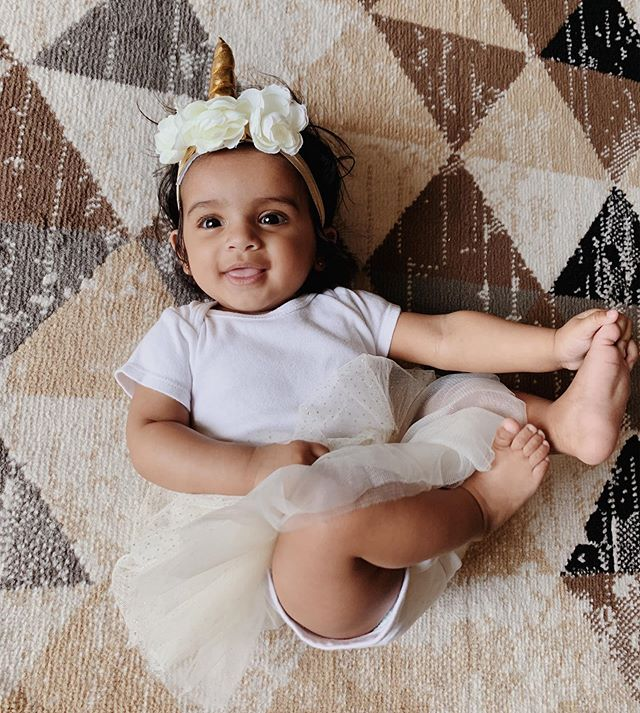 Our baby girl turned #6monthsold last week! I can't help but doll her up any chance I get! 🙈🦄