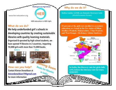 Flier for partnership efforts to establish a library in India.