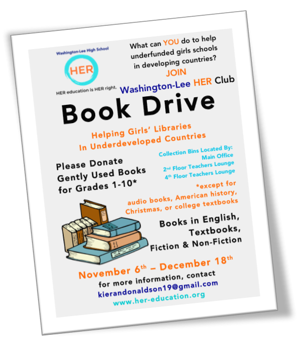 - Our club pulled off another great book drive to benefit HER-education libraries around the world. This time we've collected more than 500 books! We're also seeing a lot of interest in working with an NGO to establish a HER Club library in Maharashtra, India.