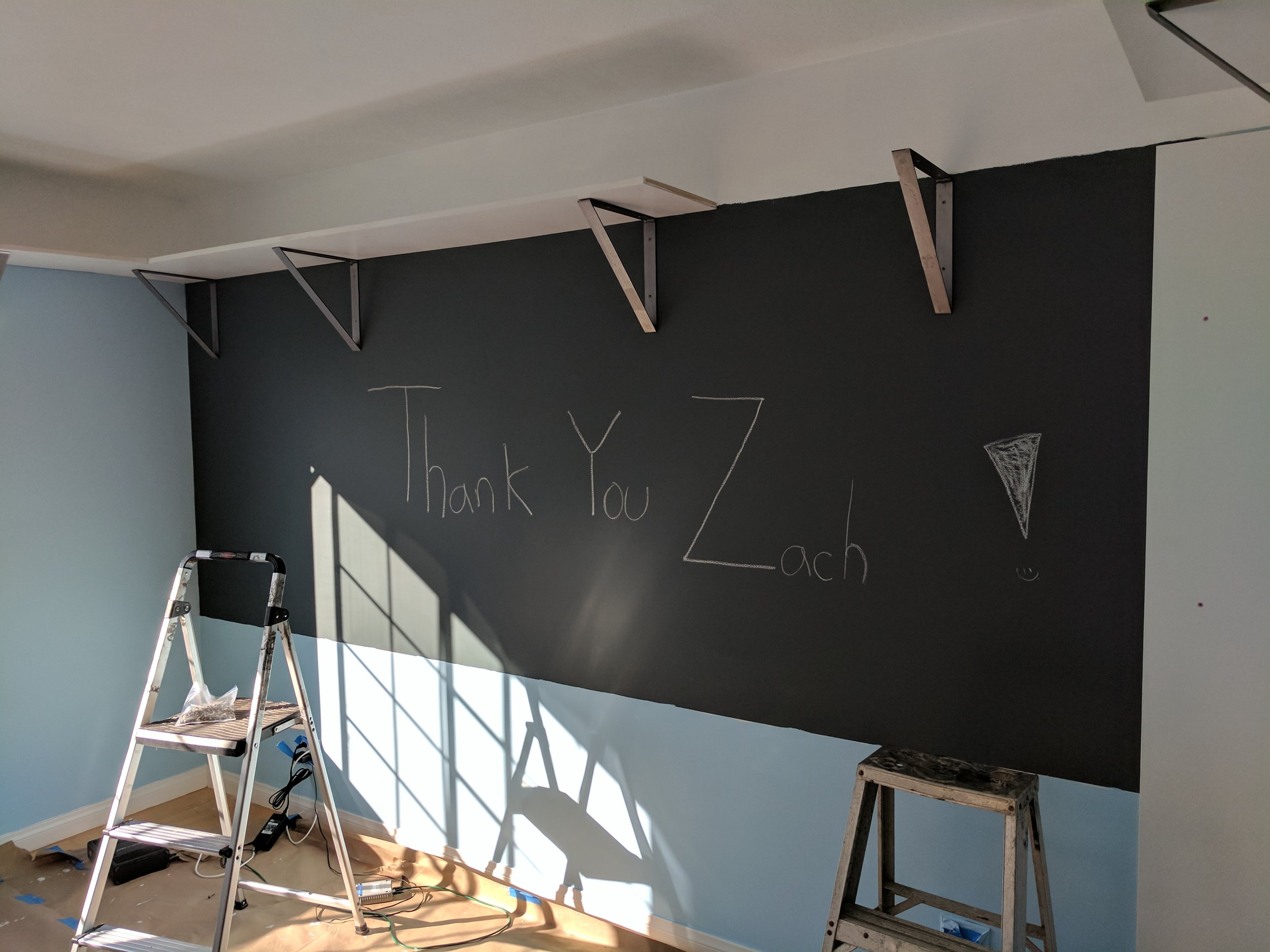 Hopefully the chalkboard paint works! I think they would grow resentful if that never was able to be wiped away.