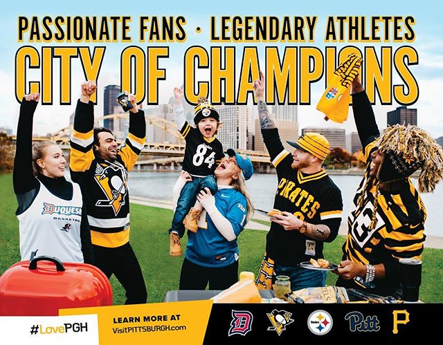 Closer look at Visit Pittsburgh's 2019 back cover. If that stinker in the middle was any cuter, I think our eyeballs would fall out. 👀😱 Also!! Maddddd props to @ninazivkovic11 of @ocreations for her Photoshop skills! She cleaned this image up in ways I never could... AND she designed the ad! Her Society 6 shop is unreal. Check out her insta! I'm obsessed. 🙌🏻