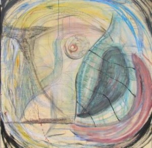 The Devouring Fin, 48 x 48 inches, Acrylic, pastel & charcoal on masonite, 2011 by Kathy Crabbe