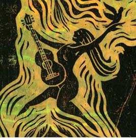 "Kathy Crabbe, Freebird, 2007, linoleum block print on bleeding tisse, 7 x 8"".  (originally published on the cover of Pat Proud's music album ""Freeborn"""